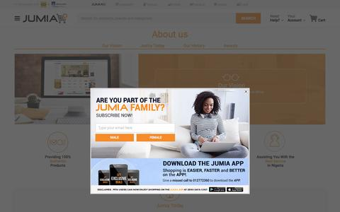 Screenshot of About Page jumia.com.ng - What is Jumia | Get to know more about us | Jumia Nigeria - captured May 9, 2017
