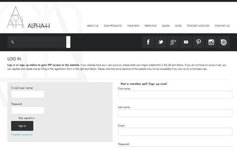 Screenshot of Login Page alpha-h.com - Alpha-H Login to Alpha-H - captured May 29, 2017