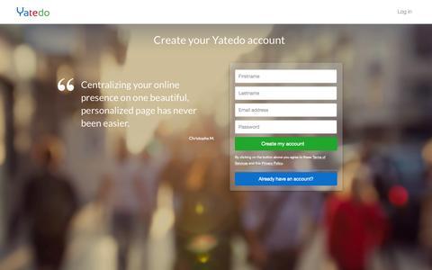 Screenshot of Signup Page yatedo.com - Yatedo - Accounts - captured July 3, 2015