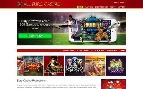Screenshot of Home Page alleurocasino.com - Euro Casino now gives you 100% Deposit and 25 FREE Spins - captured Aug. 28, 2017