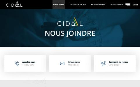 Screenshot of Contact Page cidal.ca - Nous joindre - CIDAL - captured Dec. 7, 2018