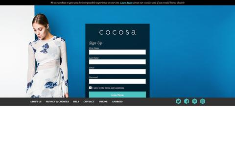 Screenshot of Signup Page cocosa.co.uk - cocosa.co.uk - Signup - captured July 14, 2016
