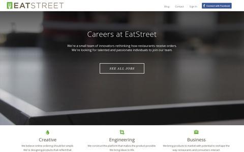 Screenshot of Jobs Page eatstreet.com - Careers | EatStreet - captured July 19, 2014
