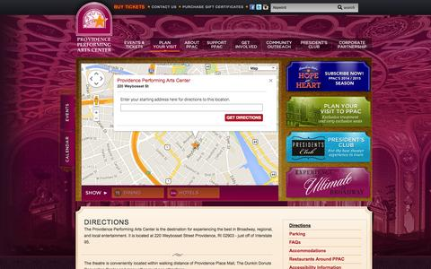 Screenshot of Maps & Directions Page ppacri.org - Providence Performing Arts Center :: Directions - captured Oct. 2, 2014