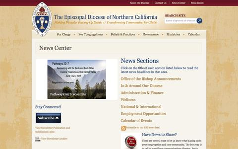 Screenshot of Press Page norcalepiscopal.org - News Center - The Episcopal Diocese of Northern California - captured Nov. 30, 2016