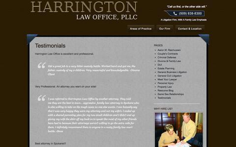 Screenshot of Testimonials Page spokanedivorcelaw.com - Spokane Family Law and Divorce Attorneys - Testimonials 509-838-8300 - captured Oct. 2, 2014