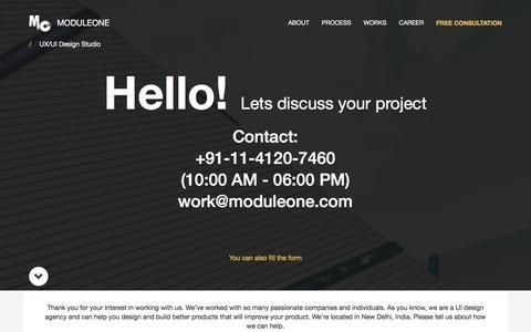 Screenshot of Contact Page moduleone.com - Contact UI/UX Design Agency ModuleOne - captured Dec. 15, 2016