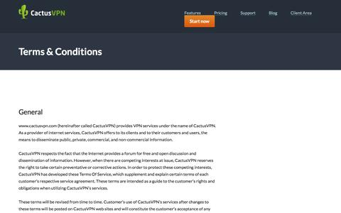 Screenshot of Terms Page cactusvpn.com - Terms & Conditions | CactusVPN - captured May 13, 2017