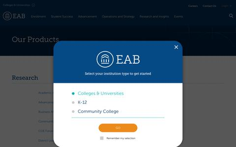 Screenshot of Products Page eab.com - Our Products | EAB - captured Aug. 17, 2019