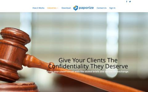Screenshot of Terms Page paporize.com - Paporize Provides Legal Practices With File Security - captured Dec. 7, 2015