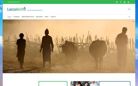Screenshot of Home Page lanzatech.com - LanzaTech - captured July 11, 2014