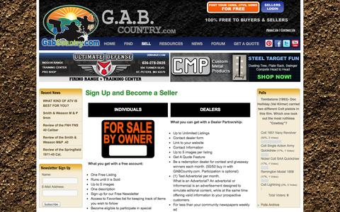 Screenshot of Signup Page gabcountry.com - Sign Up and Become a Seller - GAB Country GabCountry.com is your source for selling your Guns, ATVs, and Bows...all for FREE for sellers and buyers! - captured Oct. 1, 2014