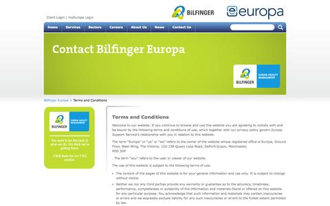 Screenshot of Terms Page europa-services.co.uk - Europa Services Terms and Conditions - captured Sept. 19, 2014