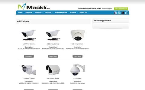 Screenshot of Products Page mackk.in - Mackk Networks - captured Feb. 3, 2016