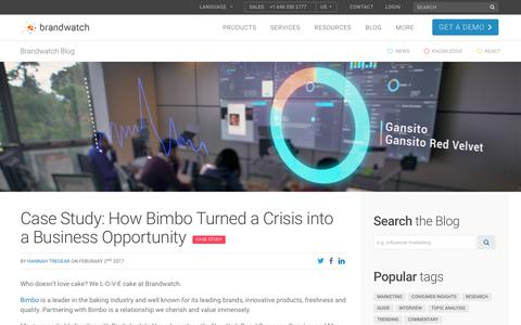 Screenshot of Case Studies Page brandwatch.com - Case Study: How Bimbo Turned a Crisis into a Business Opportunity | Brandwatch - captured Oct. 20, 2017