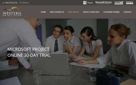 Screenshot of Trial Page westernprinciples.com - Microsoft Project Online 30-day trial - Western Principles - captured Nov. 18, 2018