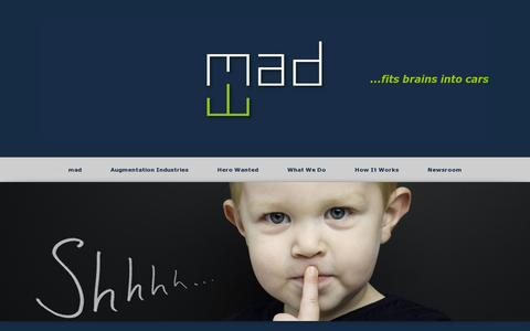 Screenshot of Home Page mad.ai - mad | …fits brains into cars - captured July 11, 2014