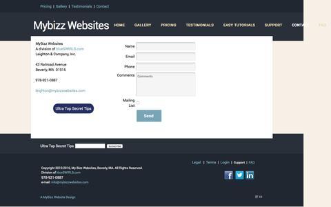 Screenshot of Contact Page mybizzwebsites.com - My Bizz Web Site Design | Beverly, MA  01915 - captured Dec. 6, 2016