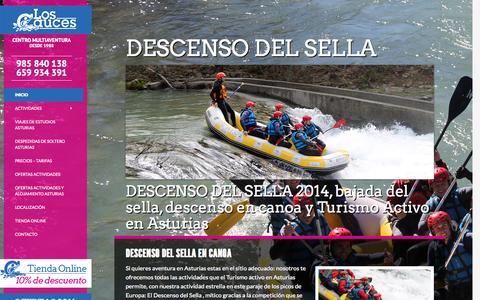 Screenshot of Home Page loscauces.com - Descenso del Sella 2014 | Alquiler de canoas Sella | bajada del sella - captured Oct. 3, 2014