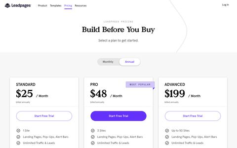 Screenshot of Pricing Page leadpages.net - Leadpages Pricing - captured Jan. 9, 2020