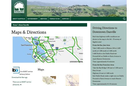 Screenshot of Maps & Directions Page ca.gov - Town of Danville - Maps & Directions - captured Sept. 13, 2014