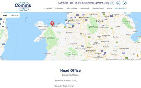 Screenshot of Contact Page commsmanagement.co.uk - IT, Data and Telecoms in Conwy, North Wales | Comms Management - captured Dec. 15, 2018