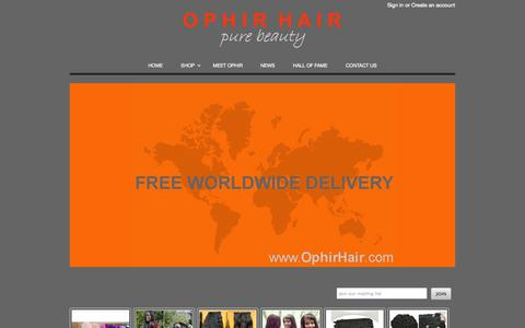 Screenshot of Home Page ophirhair.com - OPHIR HAIR | Ophir Hair is a quality supplier of 100% virgin hair extensions and bulk hair - captured Oct. 7, 2014