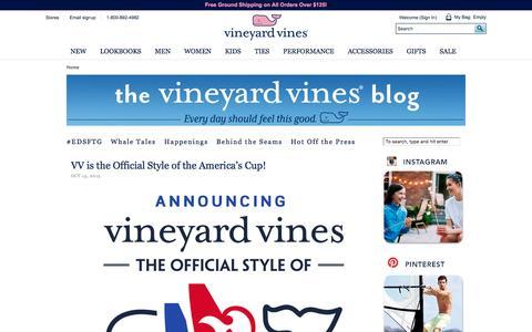 Screenshot of Blog vineyardvines.com - Read The vineyard vines blog - A Blog on Preppy Style - captured Oct. 15, 2015