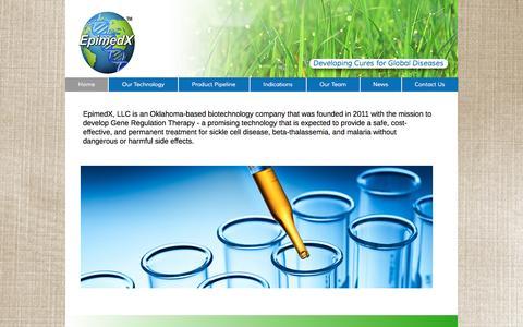 Screenshot of Home Page epimedx.com - EpimedX - Developing Cures for Global Diseases - captured Jan. 30, 2016