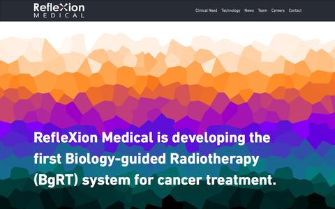 Screenshot of Home Page reflexionmedical.com - RefleXion Medical | Biology guiding radiotherapy - captured May 9, 2017