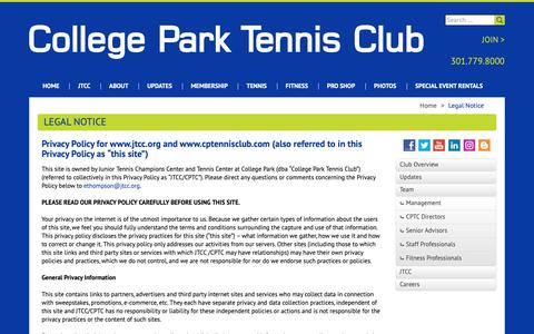 Screenshot of Terms Page cptennisclub.com - Legal Notice | College Park Tennis Club - captured Sept. 29, 2018