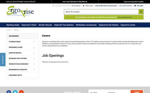 Screenshot of Jobs Page ergoprise.com - Careers at Ergoprise | Ergoprise.com - captured May 20, 2017