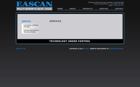 Screenshot of Services Page eascan.com - Services - Eascan - captured Oct. 1, 2014