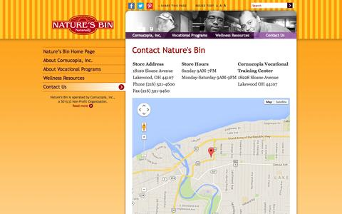 Screenshot of Maps & Directions Page cornucopia-inc.org - Nature's Bin | Store Contact Information, Address & Directions - captured Sept. 30, 2014