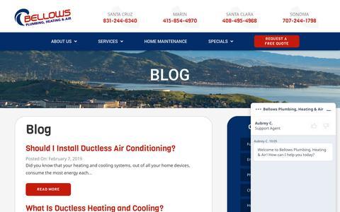 Screenshot of Blog bellowsservice.com - HVAC & Plumbing Blog | Bellows Plumbing, Heating & Air - captured June 20, 2019