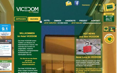 Screenshot of Home Page vicedom.at - Hotel VICEDOM - Eisenstadt - captured Feb. 1, 2016