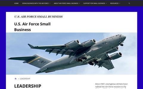 Screenshot of Team Page airforcesmallbiz.org - LEADERSHIP – U.S. Air Force Small Business - captured Dec. 18, 2018