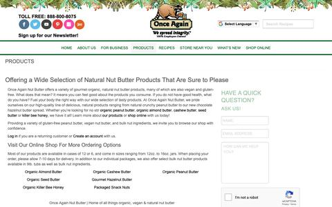 Screenshot of Products Page onceagainnutbutter.com - Products | Once Again Nut Butter | Bulk Natural Peanut Butter, Bulk Nut Ingredients, & Vegan Nut Butter - captured Oct. 19, 2018