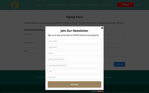 Screenshot of Signup Page apaics.org - APAICS |   Sign Up - captured July 28, 2018