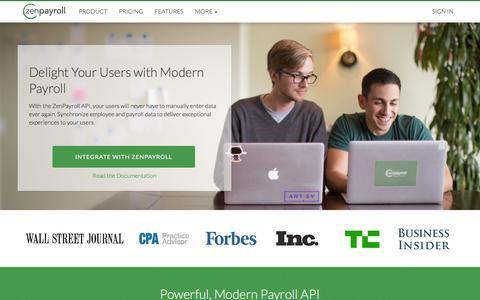 Screenshot of Developers Page zenpayroll.com - Integrate with ZenPayroll | ZenPayroll - captured Sept. 17, 2014