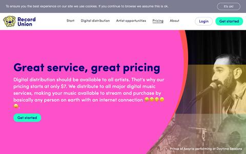 Screenshot of Pricing Page recordunion.com - Best pricing for digital music distribution - Record Union - captured July 6, 2019