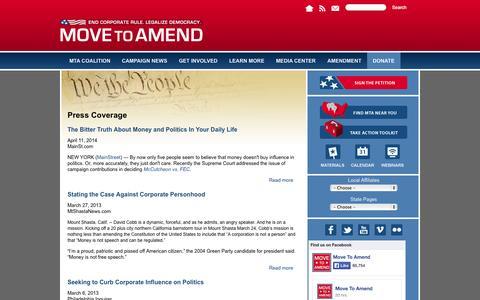 Screenshot of Press Page movetoamend.org - Press Coverage | Move to Amend - captured Oct. 26, 2014