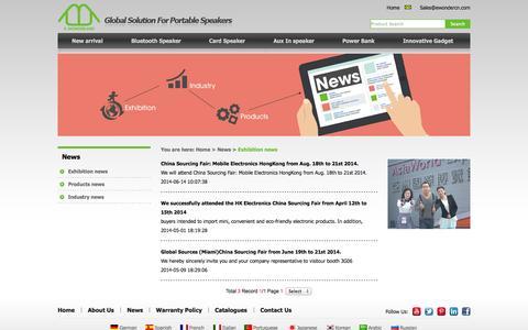 Screenshot of Press Page ewondercn.com - Exhibition news_E-wonderland-Global solution for portable bluetooth speakers - captured Oct. 1, 2014