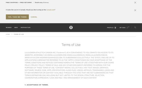 Terms of Use | lululemon athletica