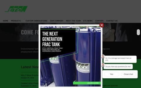 Screenshot of Jobs Page etctank.com - Careers - Environmental Tank and Container - captured Nov. 10, 2018