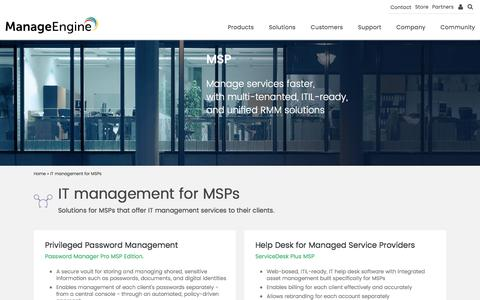 ManageEngine - MSP Solutions | MSP Software Integration