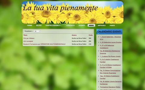 Screenshot of Press Page latuavitapienamente.org - News - captured Oct. 1, 2014