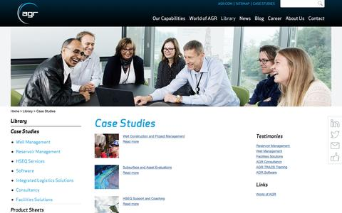 Screenshot of Case Studies Page agr.com - Case Studies - AGR - Upstream Services, Training & Software - captured Nov. 19, 2016