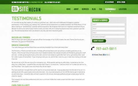 Screenshot of Testimonials Page onsiterecon.com - Testimonials - captured Oct. 26, 2014