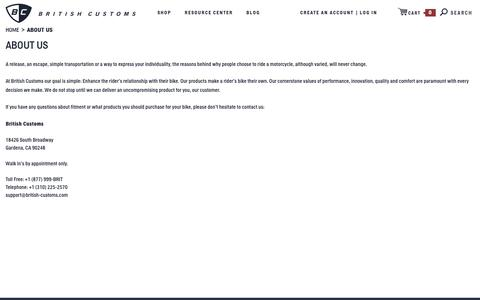 Screenshot of About Page british-customs.com - About Us - captured Oct. 11, 2017